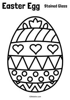 FREE Easter Printables for Kids. Easter Egg - Paper Stained Glass. Kids Craft. 123kidsfun.com #eastereggs