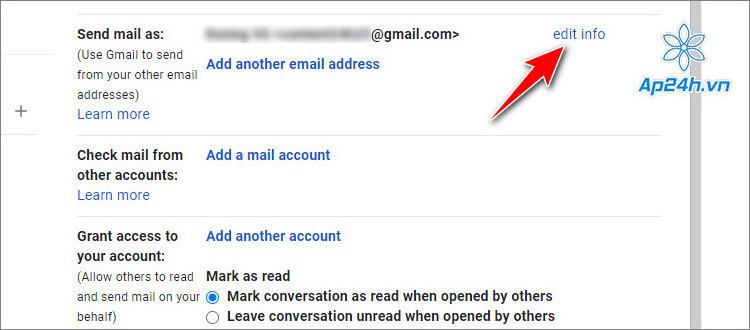 Nhấn vào nút chỉnh sửa để thay đổi thông tin người gửi