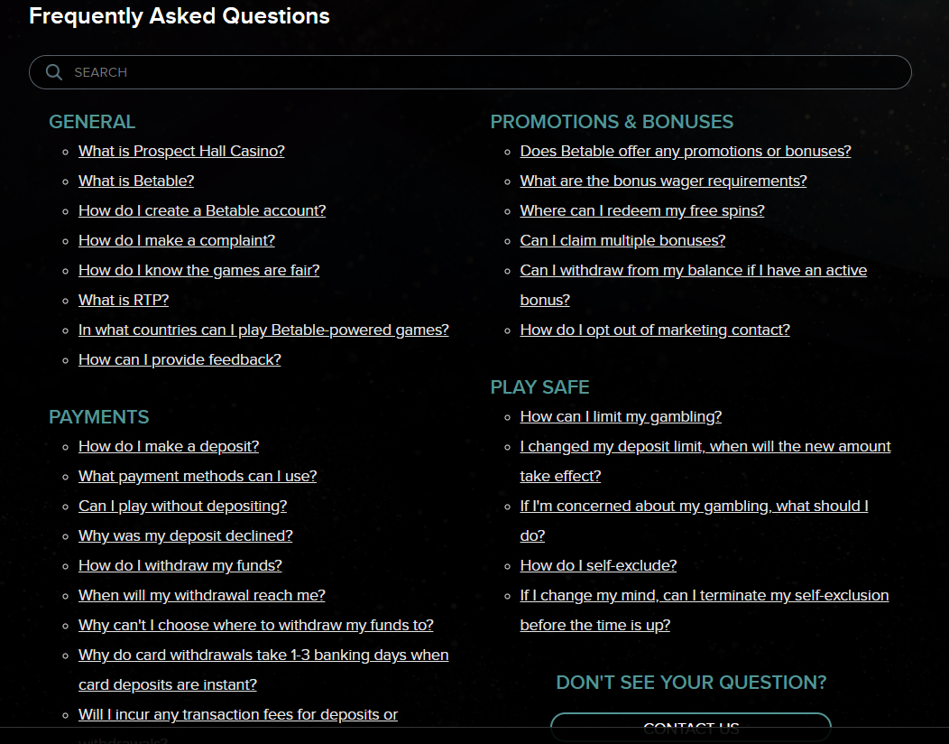 Prospect Hall Casino Support FAQs