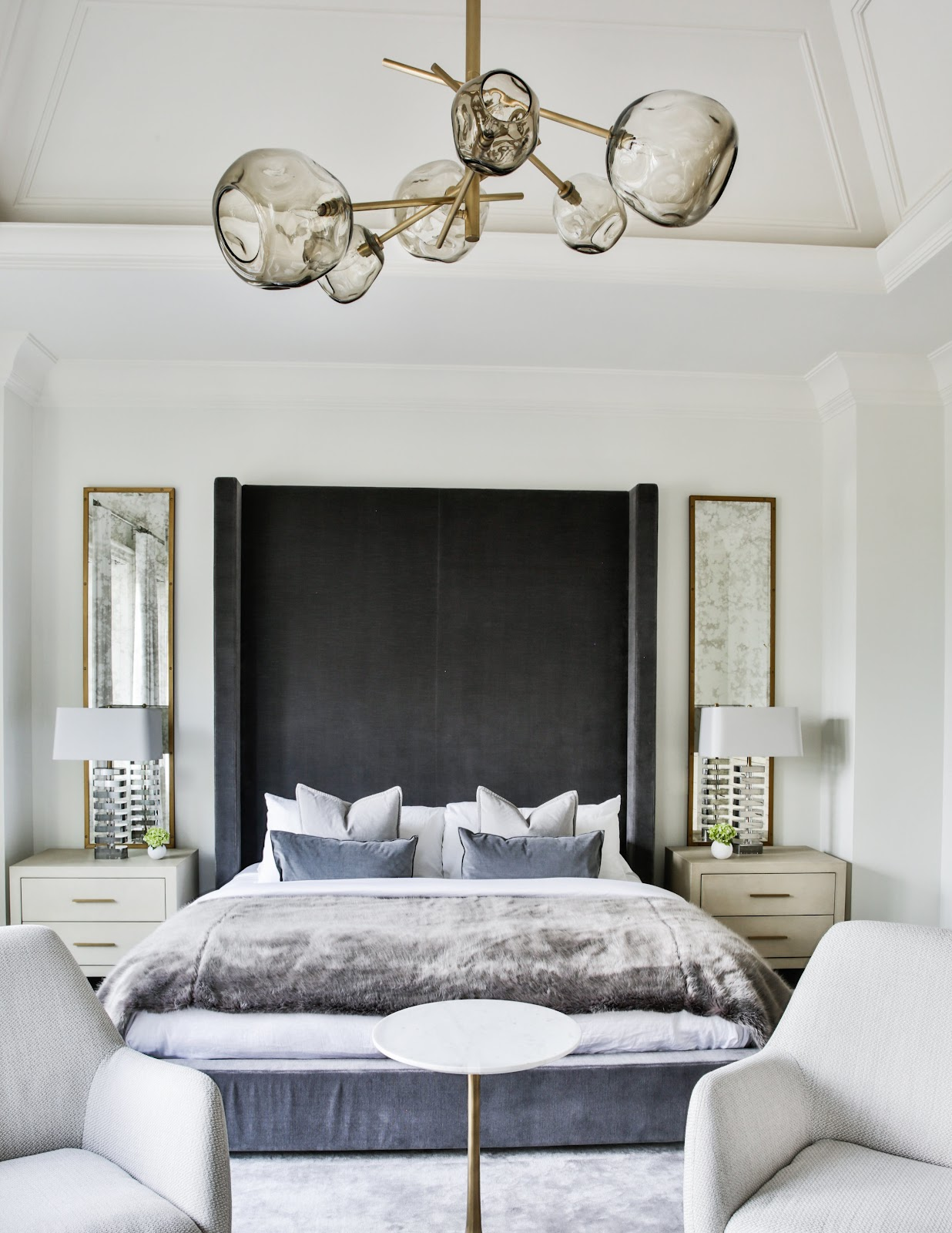 Statement lighting, Master Suite, Gold and Gray Accents