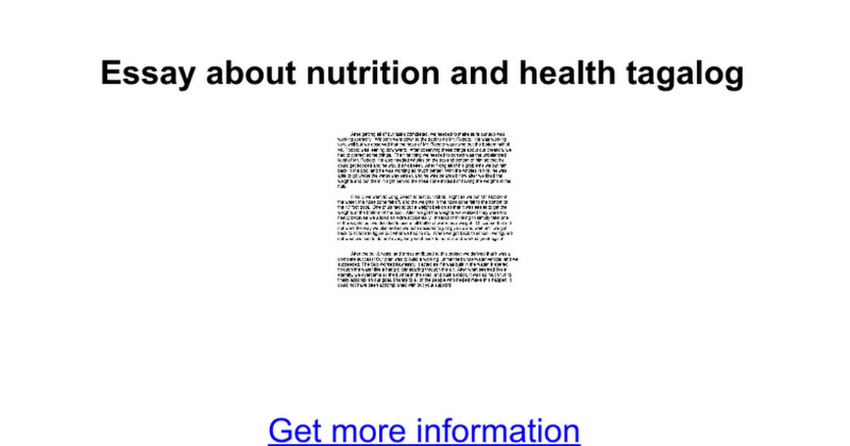 essay about nutrition and health One of the most common and popular assignments these days is an essay on health and nutritionevery day a new company is born, and it offers new products, to add to your food allowance.