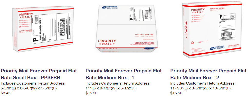 USPS Forever Prepaid boxes