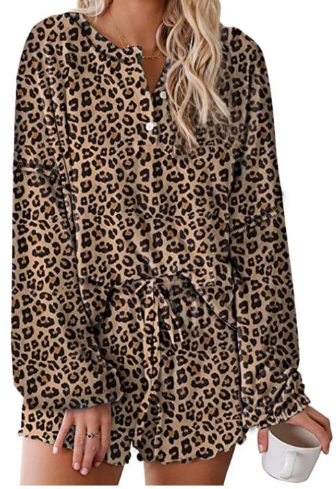 leopard print loungewear set pijama