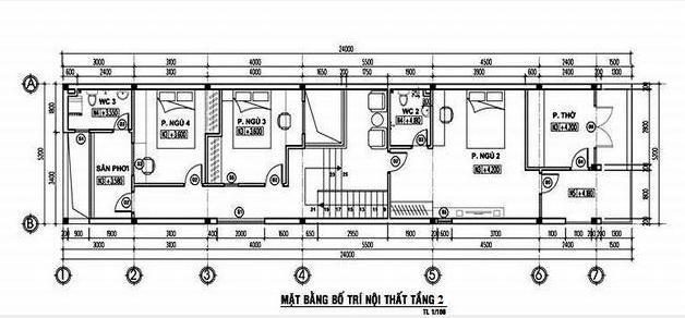 thiết kế nhà 2 tầng 4 phòng ngủ