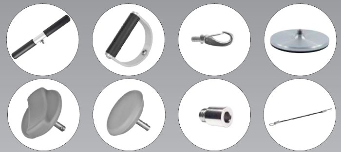 "Static Force Gauge Accessories (from left to right): T-Bar Handle, D-Handle, Hook with Stud, 4"" Push Disk, Curved Pad, Flat Pad, Threaded Pad Adapter, 12"" Cable"