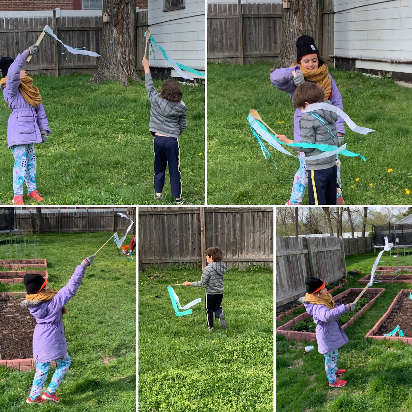 children playing with ribbon sticks