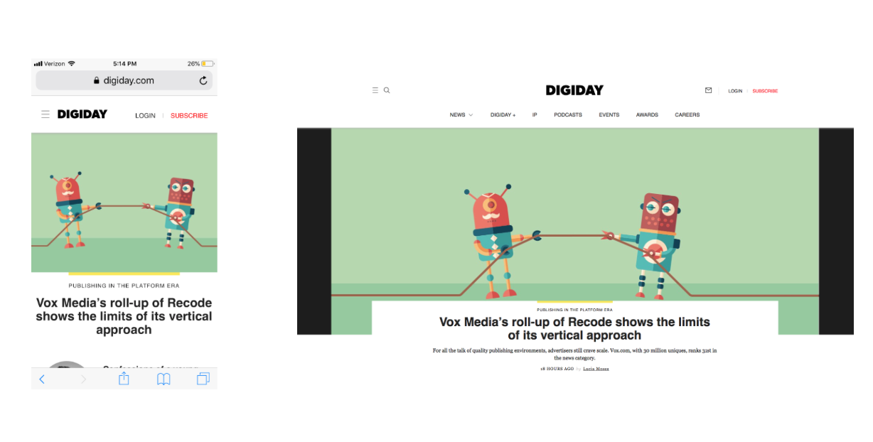 digiday homepage consistency example