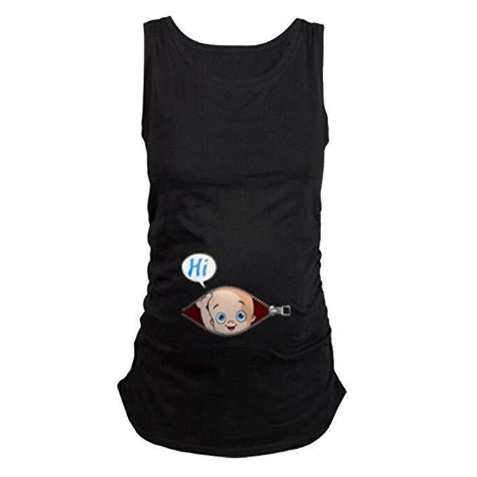 Humor Pregnancy Tee Sleeveless Maternity Tank Tops