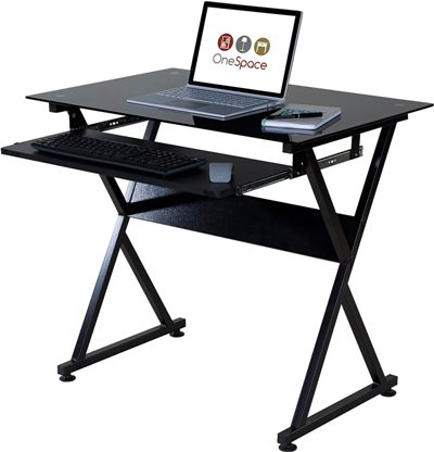 OneSpace Ultramodern Glass Computer Desk With Keyboard Tray