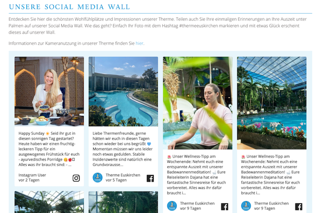 Screenshot of Therme Euskirchen's social media wall. The image shows different photos of the hotel's facilities and people meditating and relaxing.