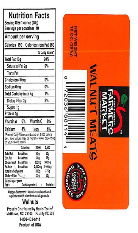 Label, Harris Teeters Farmers Market Walnut Meats