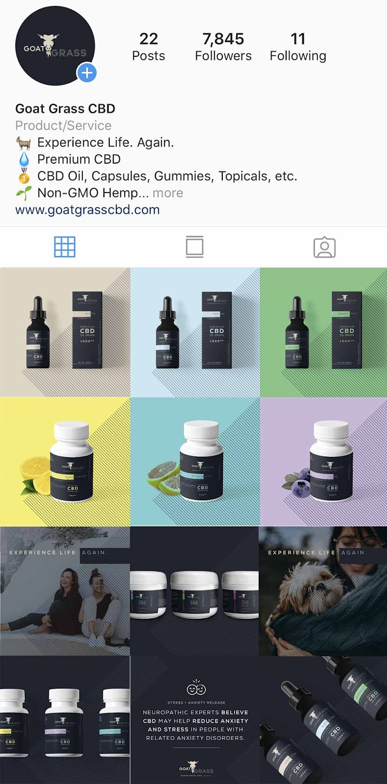Goat Grass CBD, Instagram Marketing, CBD Marketing, Instagram Grid, Instagram CBD, Avintiv Media