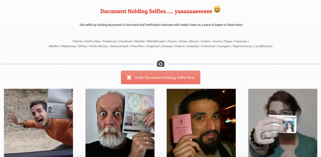Document Holding Selfie Service advertising selfies with documents