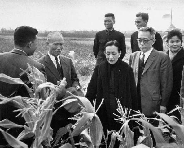 资料图:1959年2月,陈诚(左二)、胡适(右二)等人下乡考察农情。