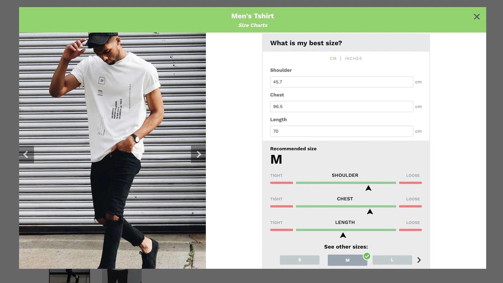 excellent Shopify size chart app