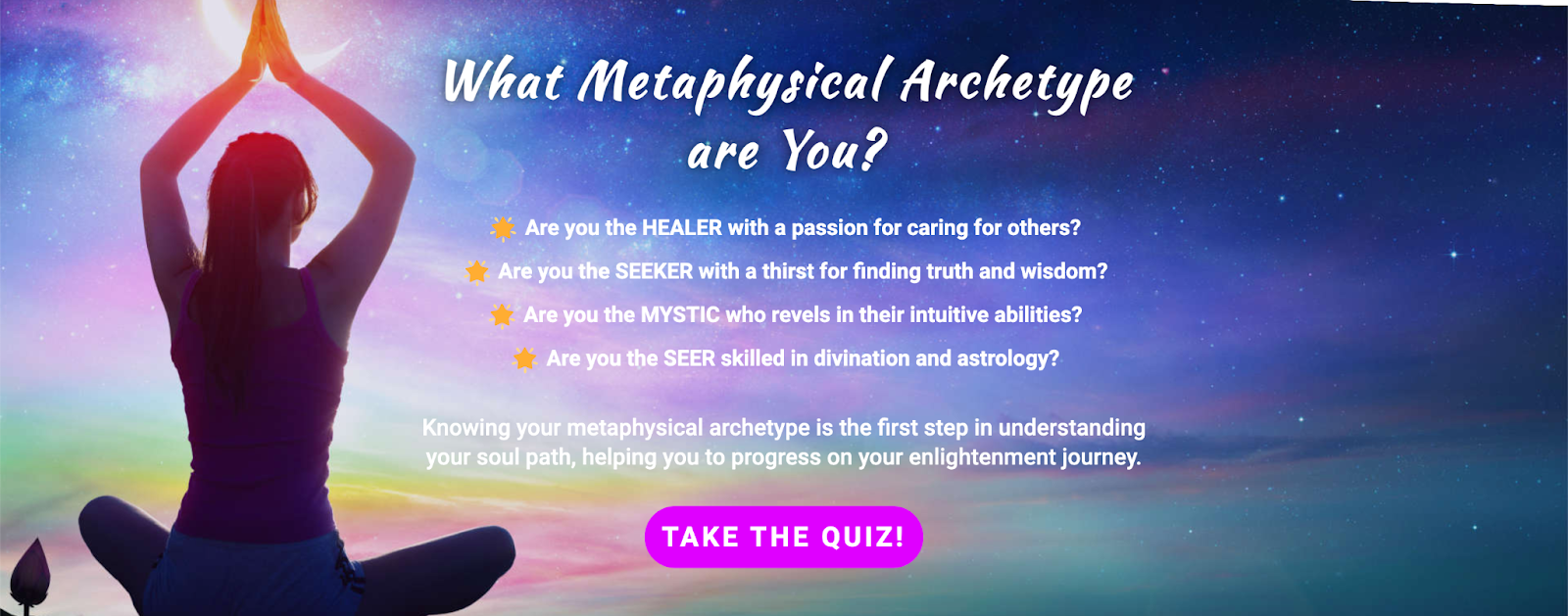 hero image with what type of metaphysical archetype and CTA of take the quiz