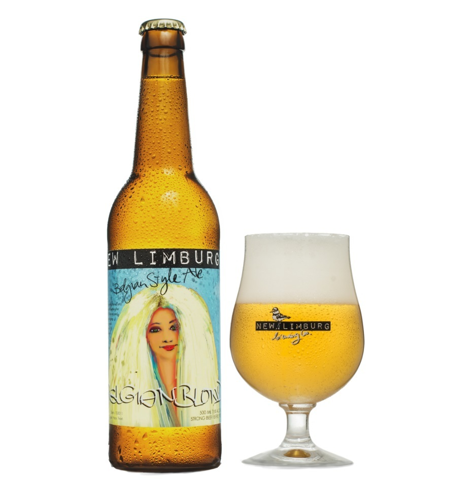 Image of New Limburg's Belgian Blonde in both a bottle and a glass