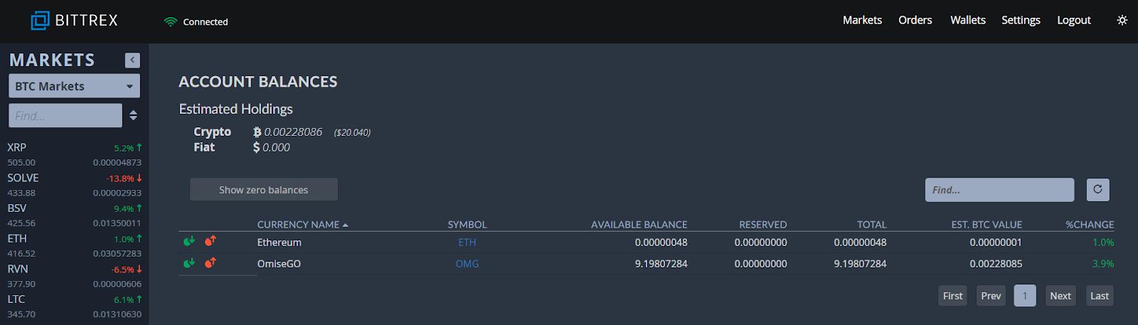 Bittrex Account balances screen shot.