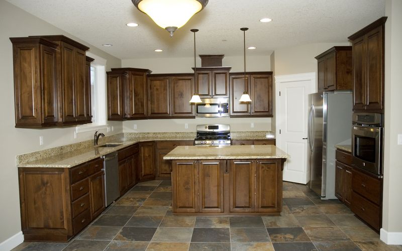 Slate tile flooring in a custom kitchen