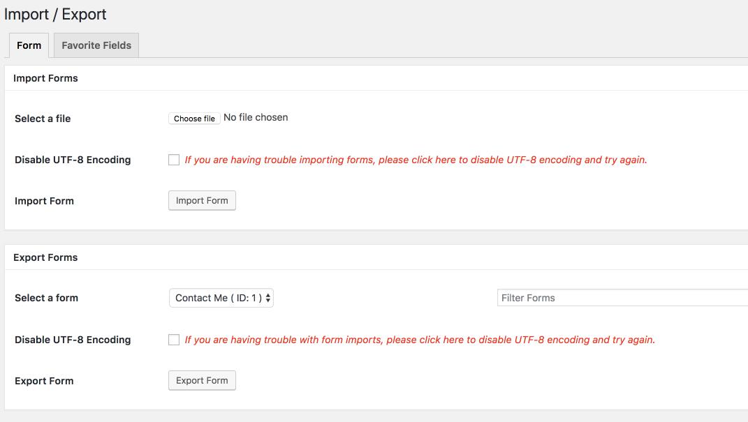 Ninja forms import/export.