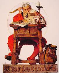 Santa at His Desk Norman Rockwell