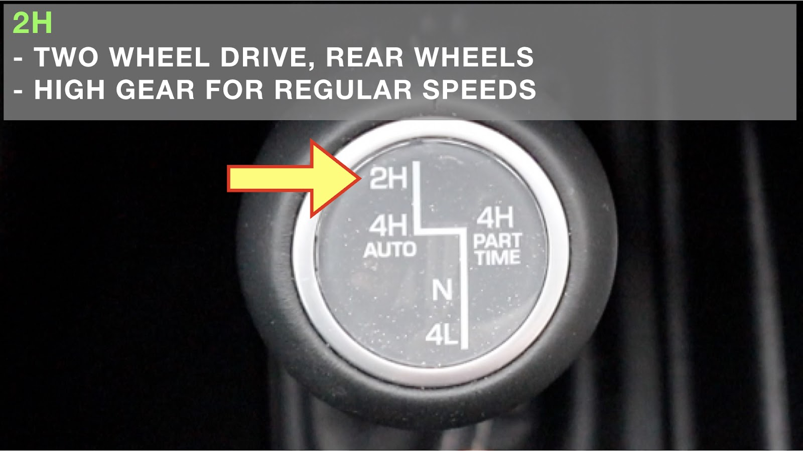 Image showing the 2H setting when using 4wd in a Jeep Wrangler