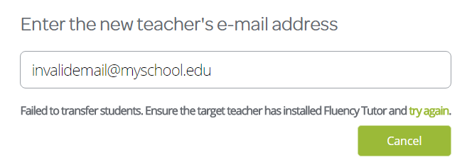 Field with the new teachers email