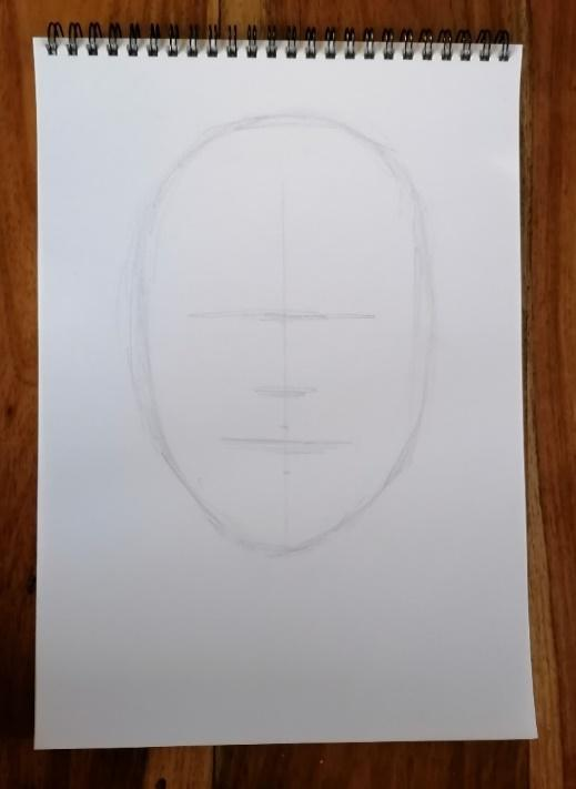 Beginning the sketch, head shape, and dividing lines