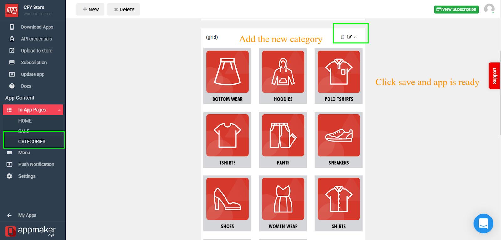 Category widget in app page