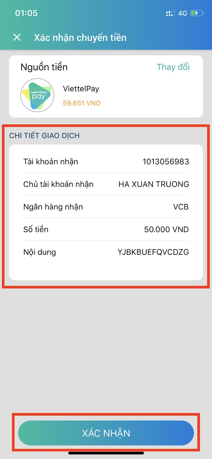 Chuyển tiền qua Viettel Pay