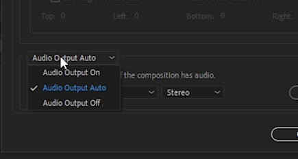 Change Audio Output Auto to Audio Output Off