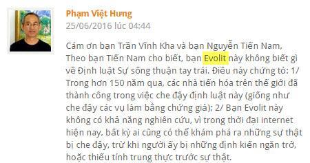 """[BÀI TRÙNG]Phản Biện Ông Phạm Việt Hưng, Phần :. SỰ THẬT VỀ ĐỊNH LUẬT BỊA ĐẶT """"THE LAW OF LEFT-HANDED LIFE"""""""
