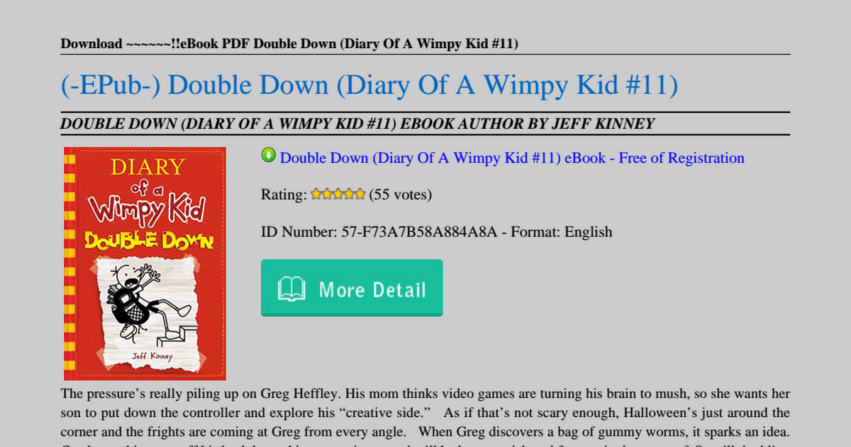Double Down Diary Of A Wimpy Kid 11 Pdf Google Drive