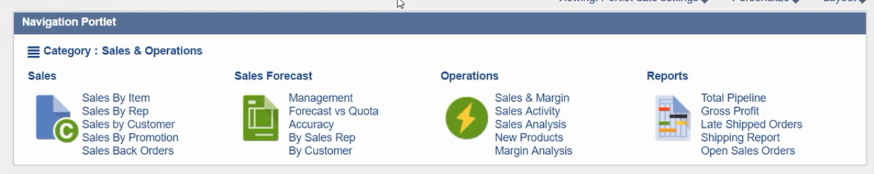 Example navigation portlet showing categories for sales, sales forecast, operations, and reports.
