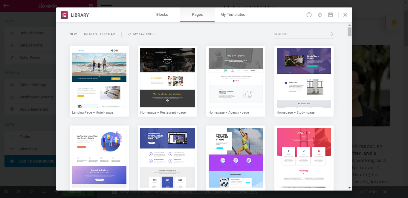 elementor page builder templates
