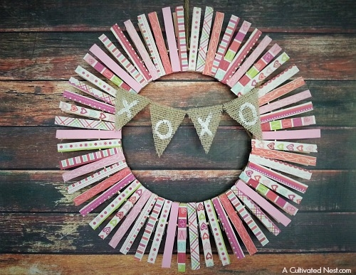 Valentines Day Clothespin Wreath