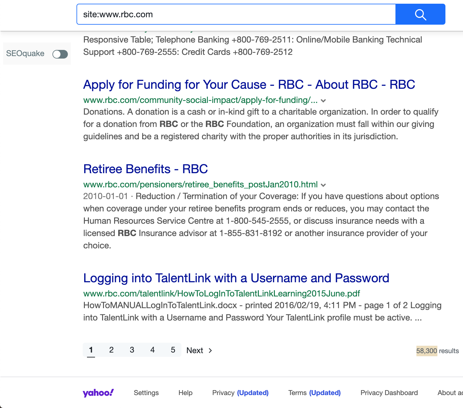 RBC Search Results