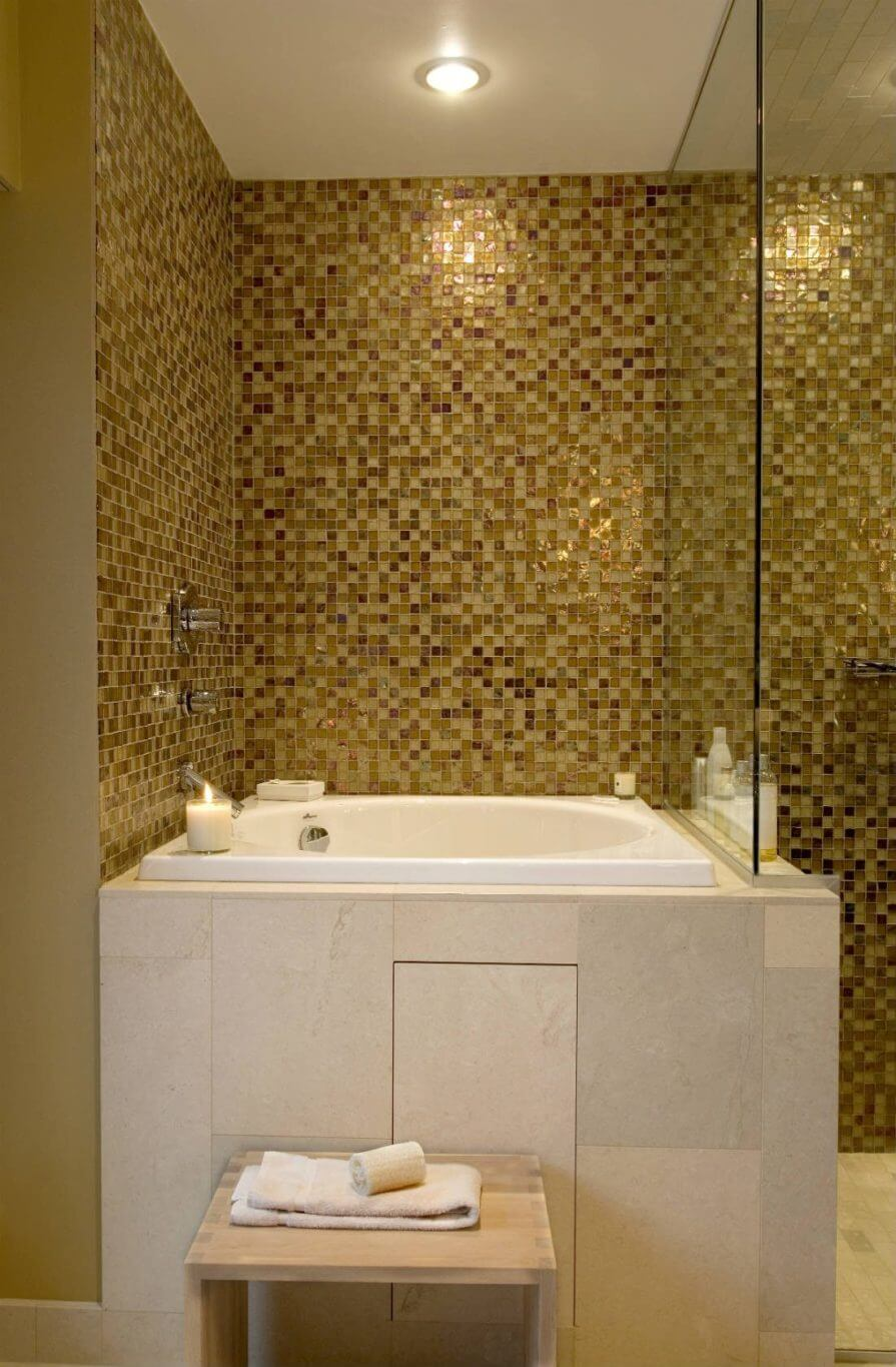 Golden square mosaic tile in a bathroom