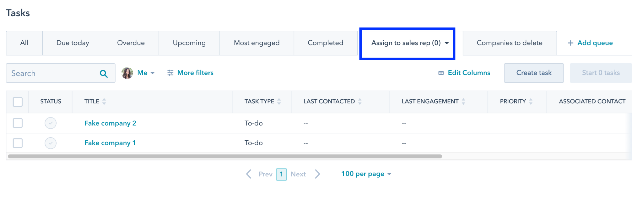 Assigning a sales rep in HubSpot