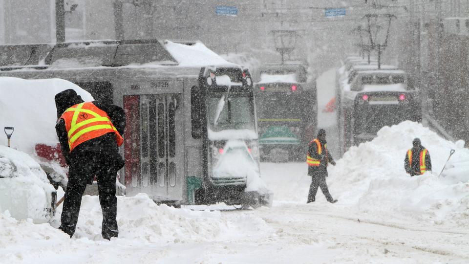 Boston train system in snow