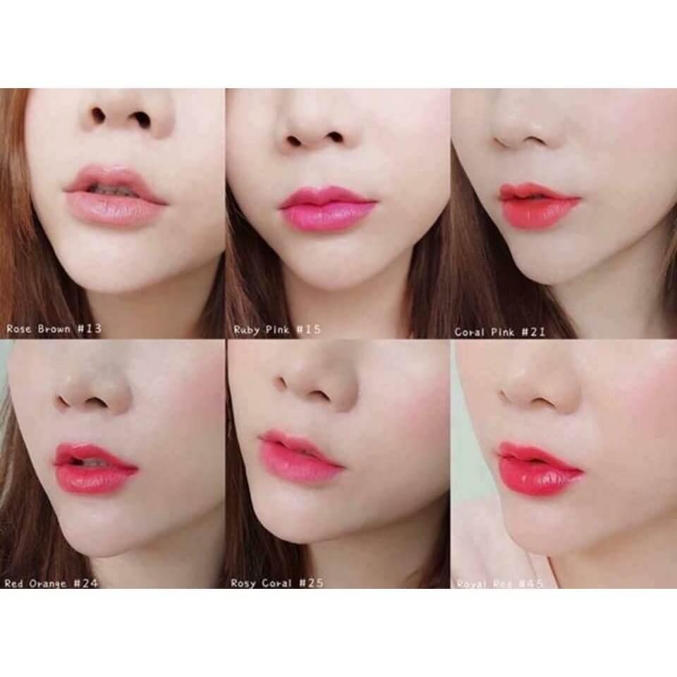Hình ảnh bảng màu son whoo mi luxury lip rouge lên môi