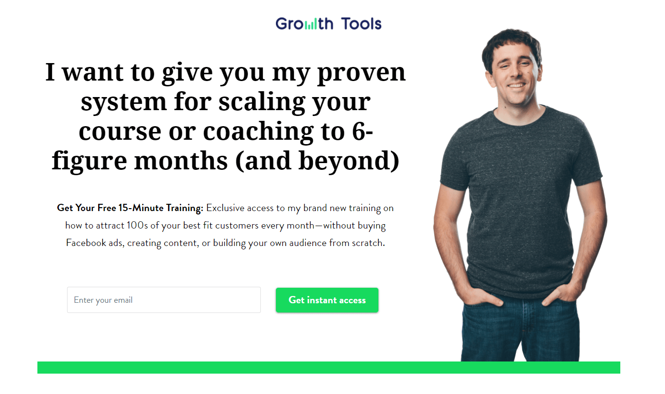 Growth Tools landing page part one