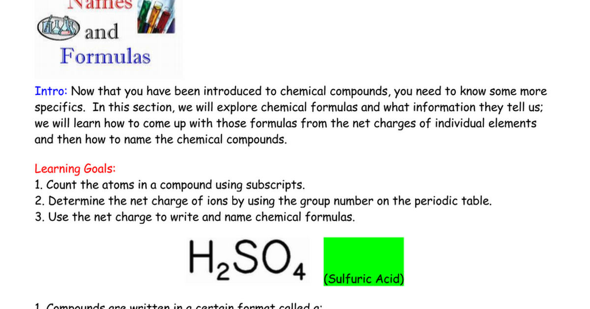 Chemical Names And Formulas Notes Google Docs
