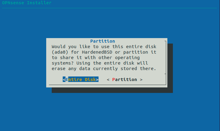 Selecting Entire Disk for partitioning
