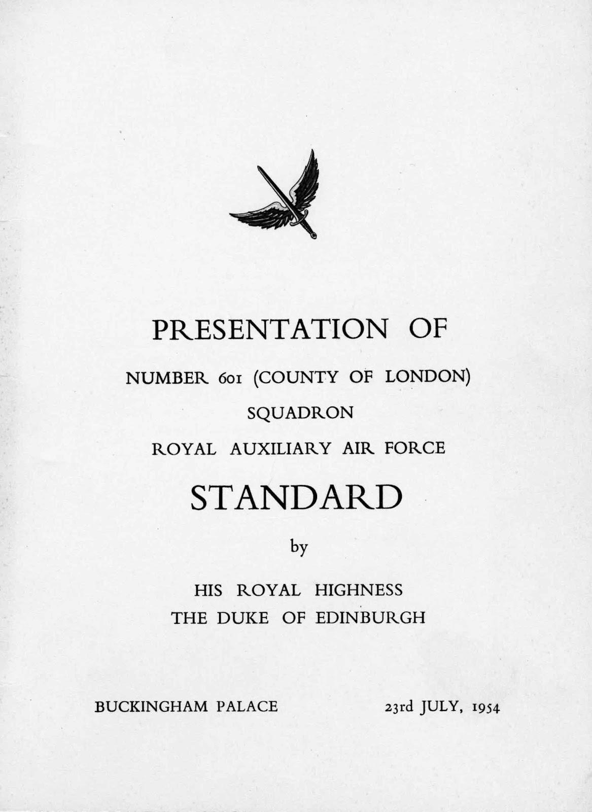 601 Squadron Standard programme 1