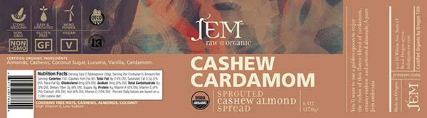 Label, JEM Raw Organic CASHEW CARDAMOM Sprouted Cashew Almond Spread, 6 oz.