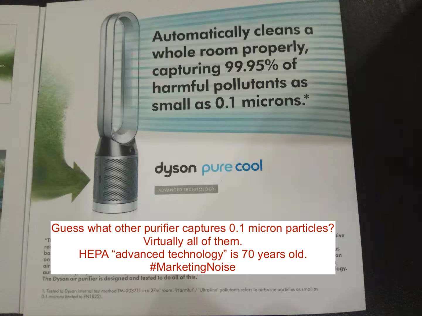Dyson states that their air purifiers are special