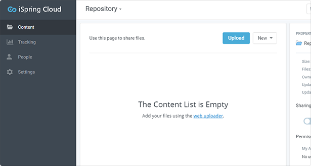 iSpring Cloud repository in a browser window