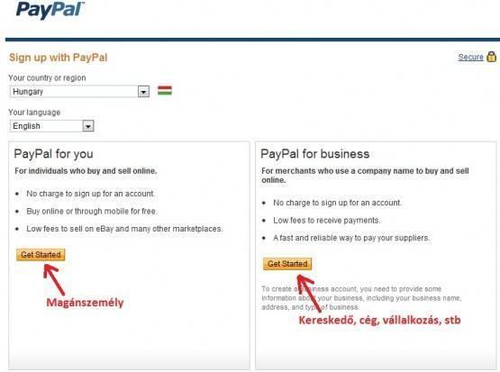 Paypal regisztráció 2