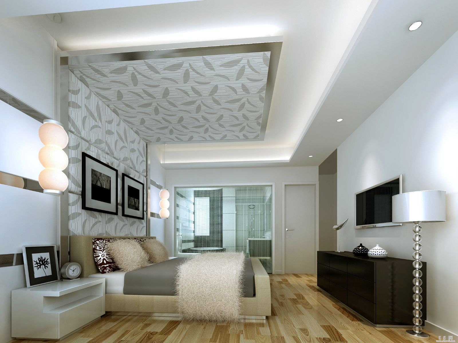 Mẫu phòng ngủ có nhà vệ sinh với không gian rộng 25m2.